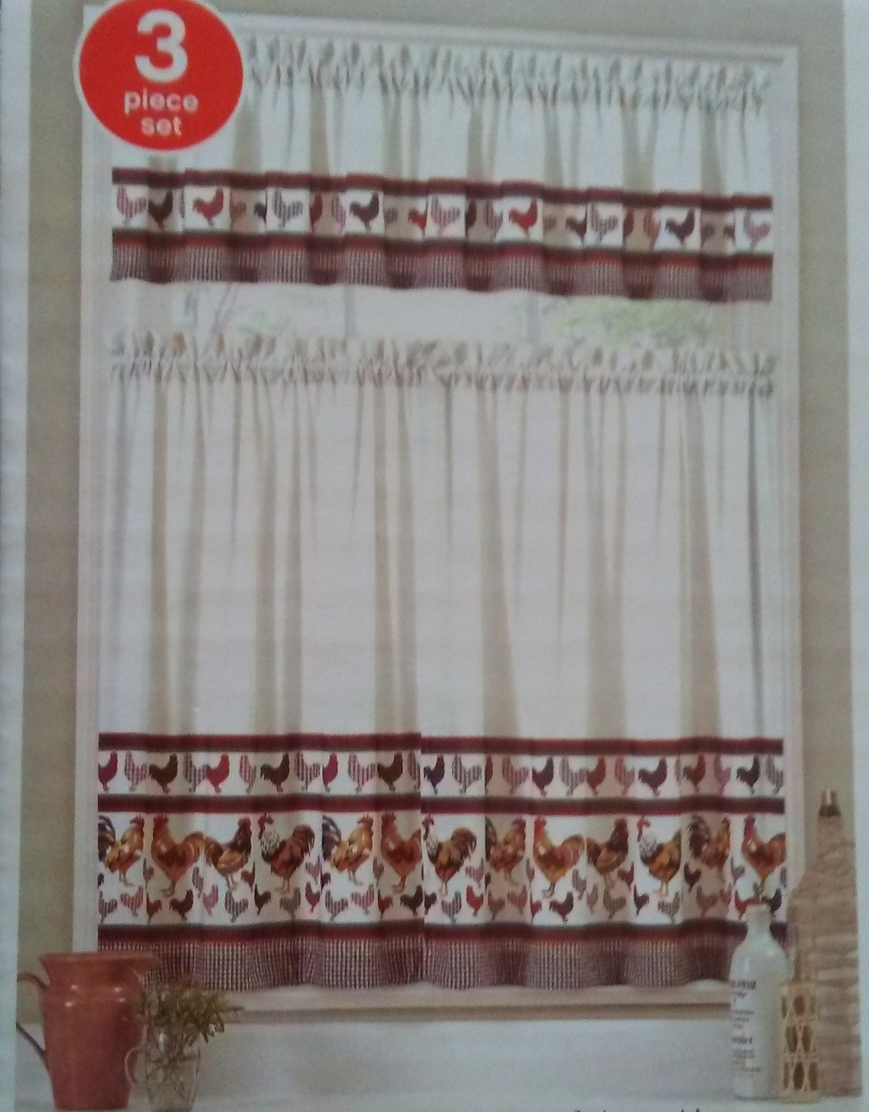 Rooster Curtain Set Two Tier And Valance And 50 Similar Items