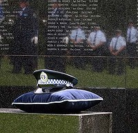 National Police Remembrance Day was commemorated in a service at the Remembrance Wall, The Domain.