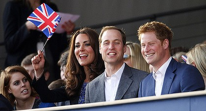 Show goes on ... Princess Beatrice, the Duchess of Cambridge and princes William and Harry enjoy the Jubilee Concert.