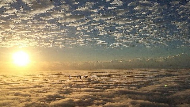 Fog covers Brisbane in the early hours of Tuesday morning.