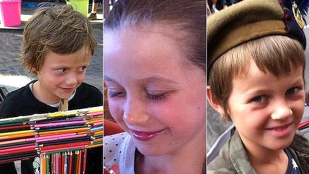 From left: Otis, Evie and Mo are among the 298 victims. They were travelling with their grandfather Nick Morris.