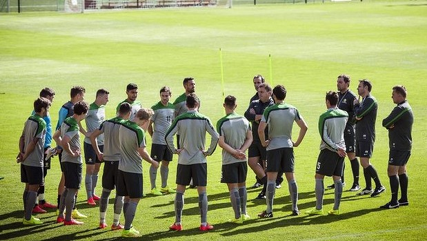 Readying the troops: Ange Postecoglou speaks to his players during a training session in Angleur.