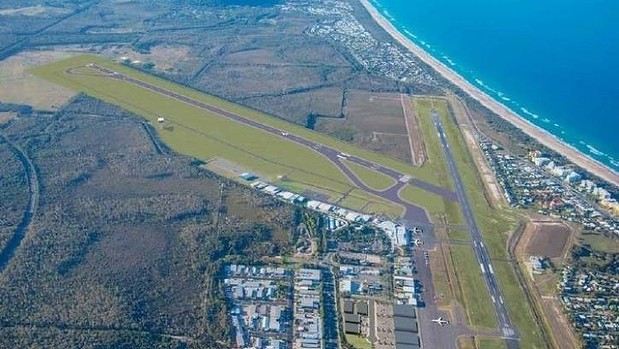 An artist's impression of the proposed new runway, to the left in this image, at Sunshine Coast Airport.