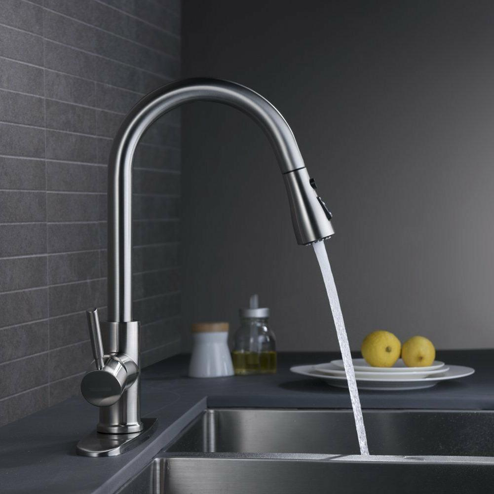 wewe single handle high arc brushed nickel pull out kitchen faucet brass mixer home faucets home garden worldenergy ae