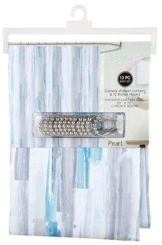 13 pc canvas shower curtain hooks blue purple