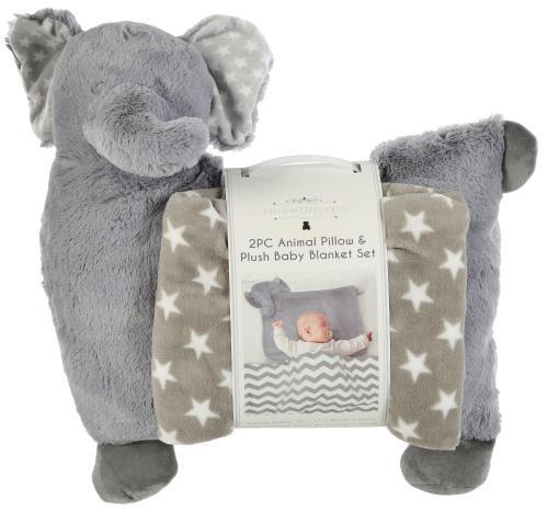 2 pc animal pillow plush blanket set grey