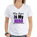 Purple Ribbon Hero Women's V-Neck T-Shirt