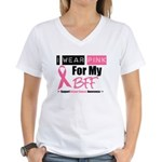 I Wear Pink (BFF) Women's V-Neck T-Shirt