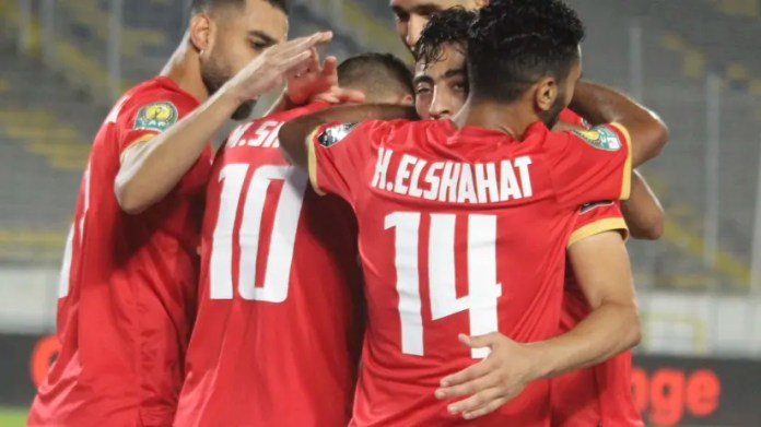 Mohamed Sherif of Al Ahly (c) celebrates goal with teammates during the 2021 CAF Champions League Final between Kaizer Chiefs and Al Ahly at the Mohamed V Stadium in Casablanca, Morocco on 17 July 2021 ©Fareed Ko