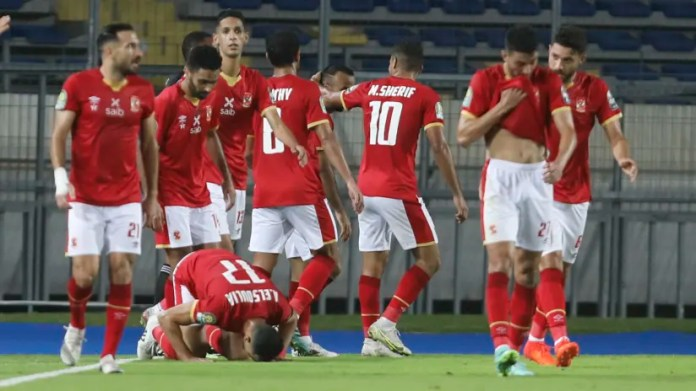 Mohamed Sherif of Al Ahly (c) celebrates goal during the 2021 CAF Champions League Final between Kaizer Chiefs and Al Ahly at the Mohamed V Stadium in Casablanca, Morocco on 17 July 2021 ©Fareed KotbBackpagePix