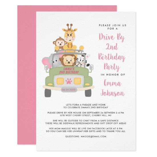 Drive By Animal Safari Pink 2nd Birthday Party Invitation Candied Clouds