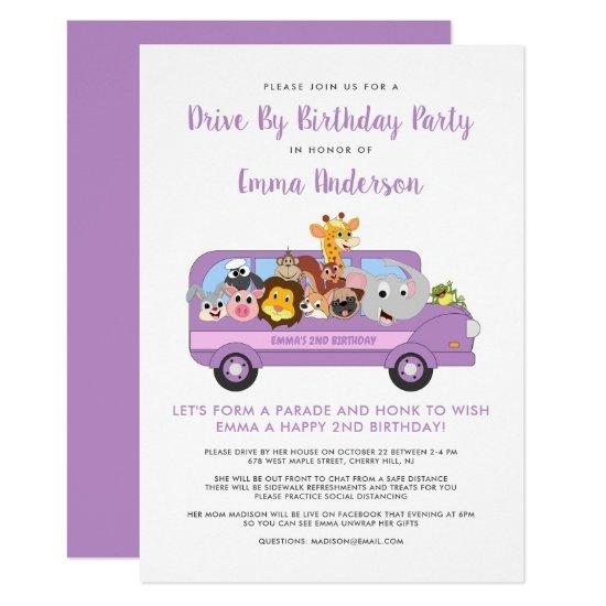 Drive By Animal Safari Purple Girl Birthday Party Invitation Candied Clouds