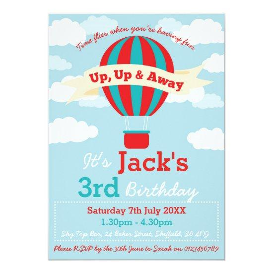 Hot Air Balloon Themed Birthday Party Invitation Candied Clouds