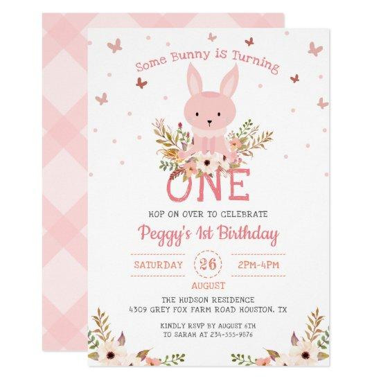 pink some bunny girl 1st birthday
