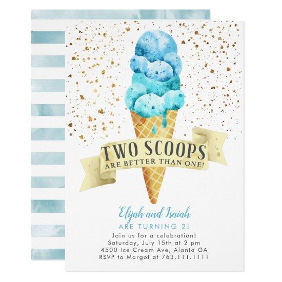 two scoops twin boys ice cream birthday