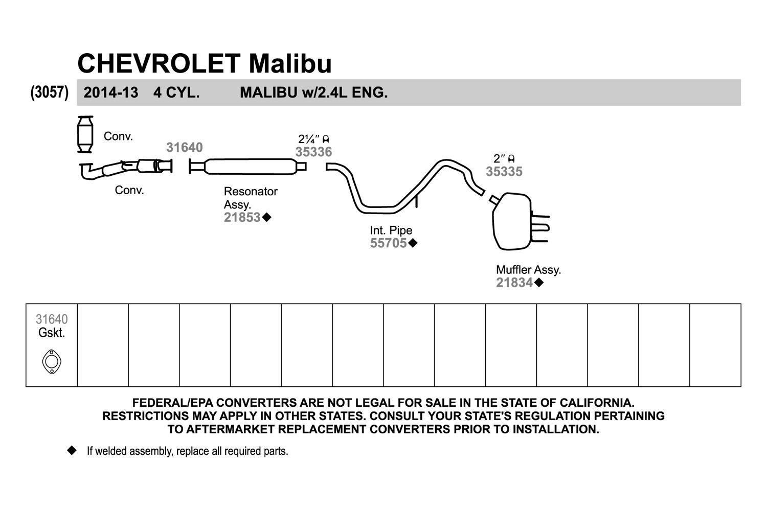 walker 31640 perforated metalwith fiber core and fire ring 2 bolt exhaust manifold flange gasket