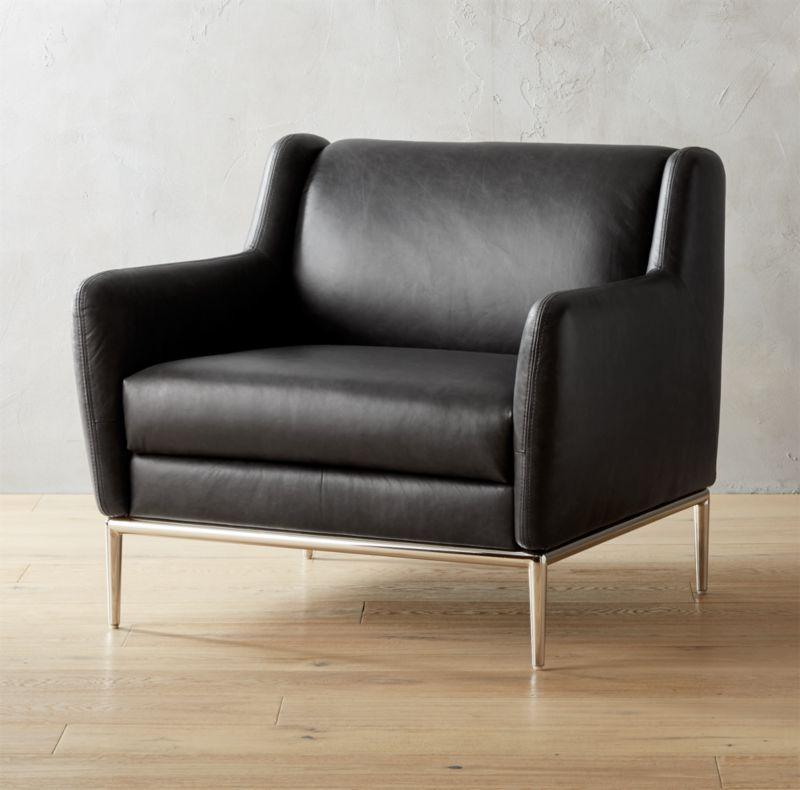 Alfred Black Leather Chair CB2