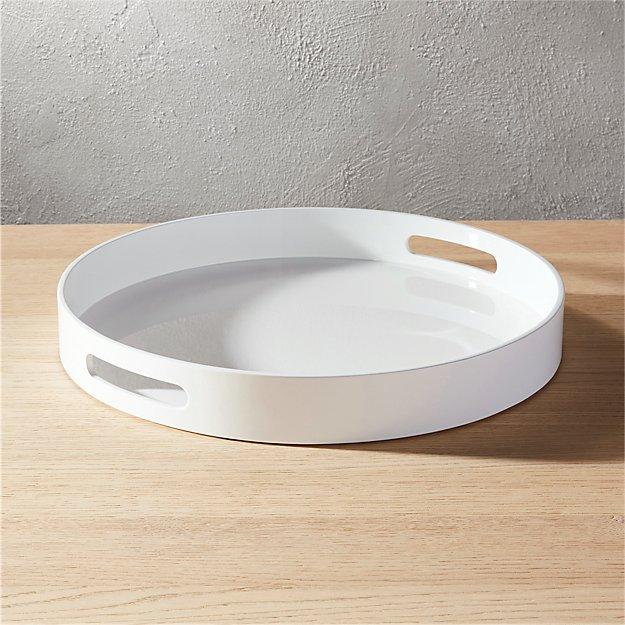 Hi Gloss Round White Tray CB2