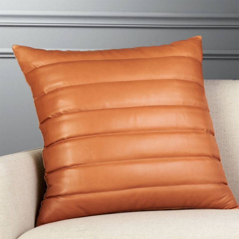 23 Izzy Saddle Brown Leather Pillow CB2