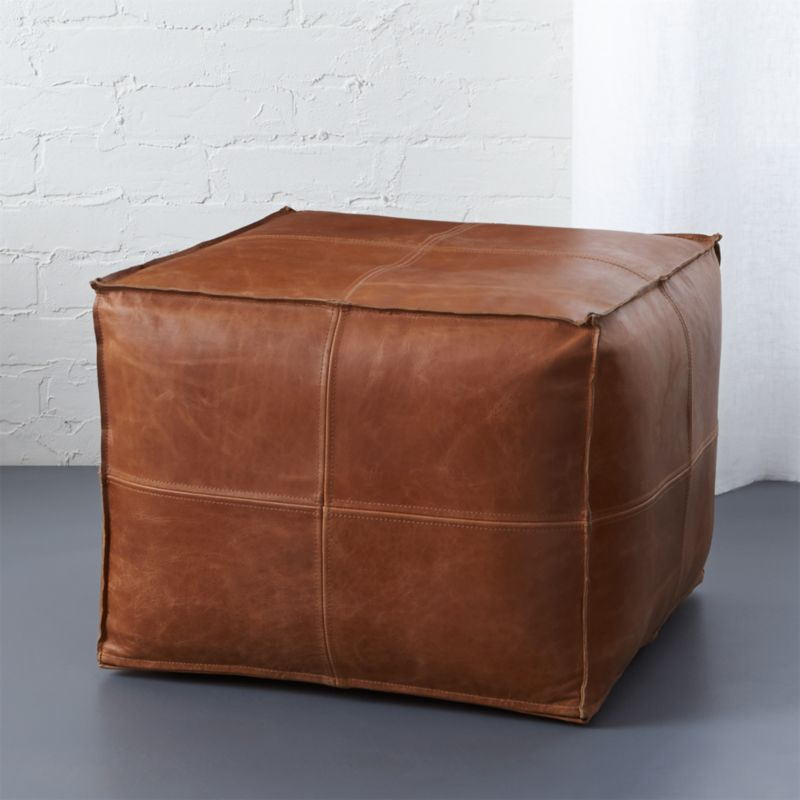 Square Leather Storage Ottoman