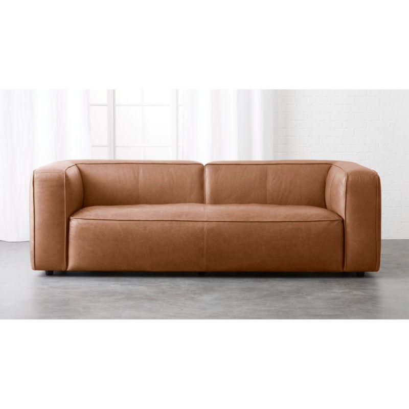 Lenyx Overstuffed Leather Sofa CB2