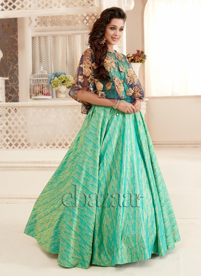 Buy Bollywood Vogue Green N Blue Cape Suit With Skirt