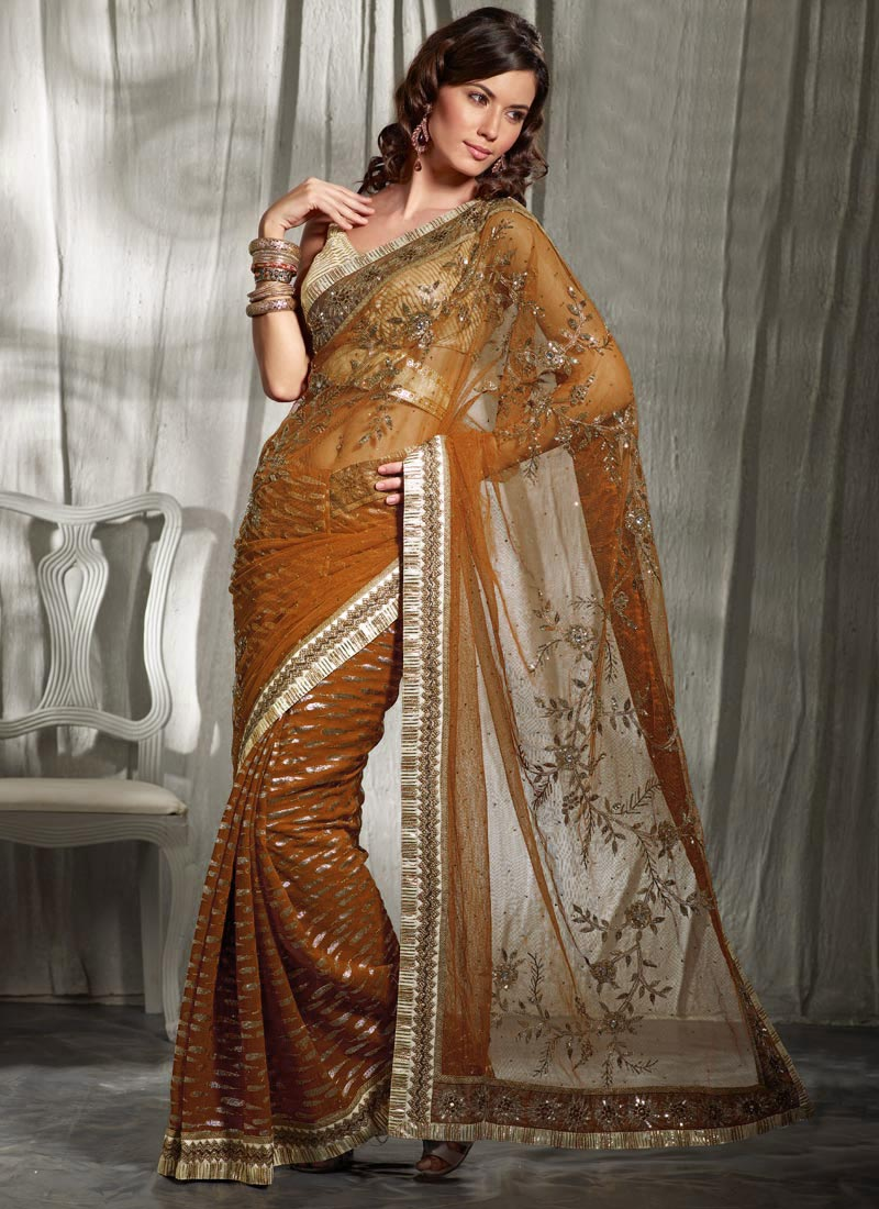 Cbazaar Ravishing Rust Saree