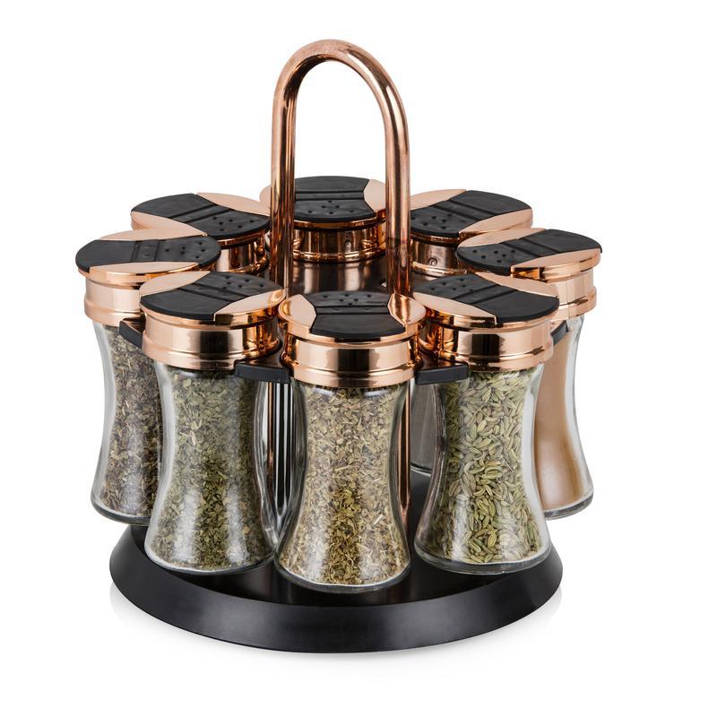 rose gold rotating spice rack 8 jars