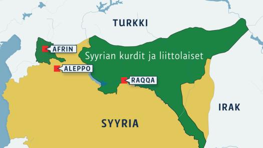 Syyrian kurdialue kartalla