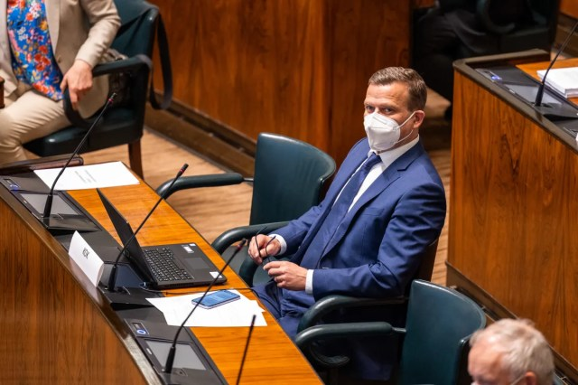 Coalition Party Petteri Orpo in Parliament.  Interim vote on decisions taken by the government in the mid-term debate.
