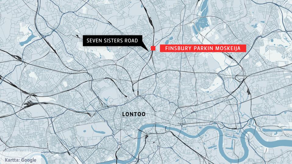 Lontoon kartta, johon on merkitty Finsbury Parkin moskeija, jossa rekka-autoisku tapahtui.