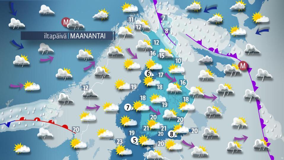 Päivän sääkartta maanantaille 19. kesäkuuta.