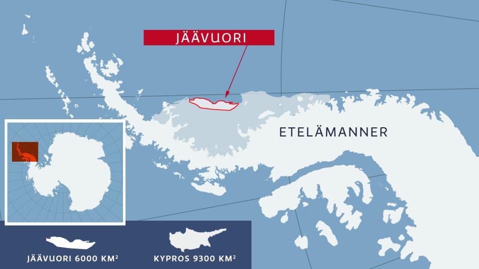 Etelämantereesta irronneen jäävuoren sijaintikartta.
