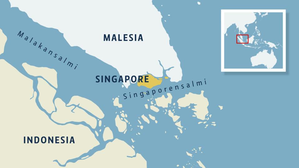 Kartta Singaporensalmesta