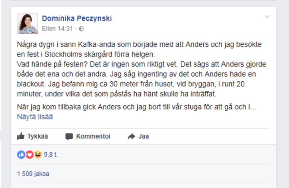 Dominika Peczynskin Facebook-päivitys.
