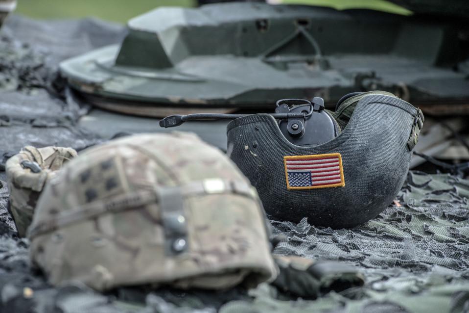 Amerikkalaissotilaiden kypäriä sotaharjoituksessa Saksassa