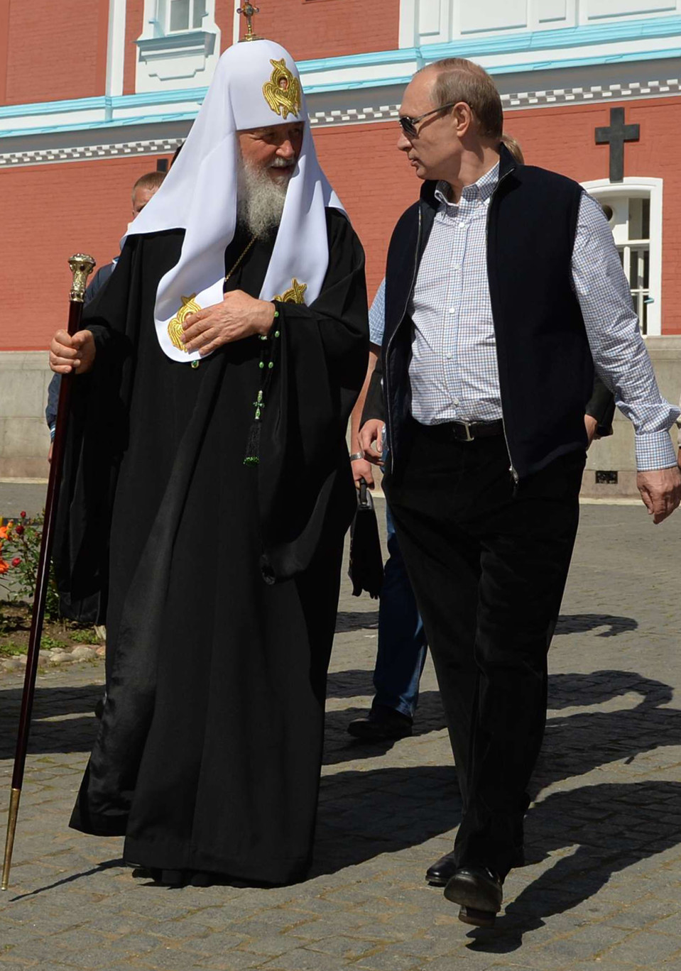 Vladimir Putin kuvattuna vieraillessaan Valamon luostarissa.