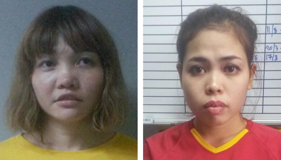 Pidätetyt ja Kim-Jong-namin murhasta epäillyt vietnamilainen Doan Thi Huong (vas.) ja vietnamilainen Siti Aisyah.