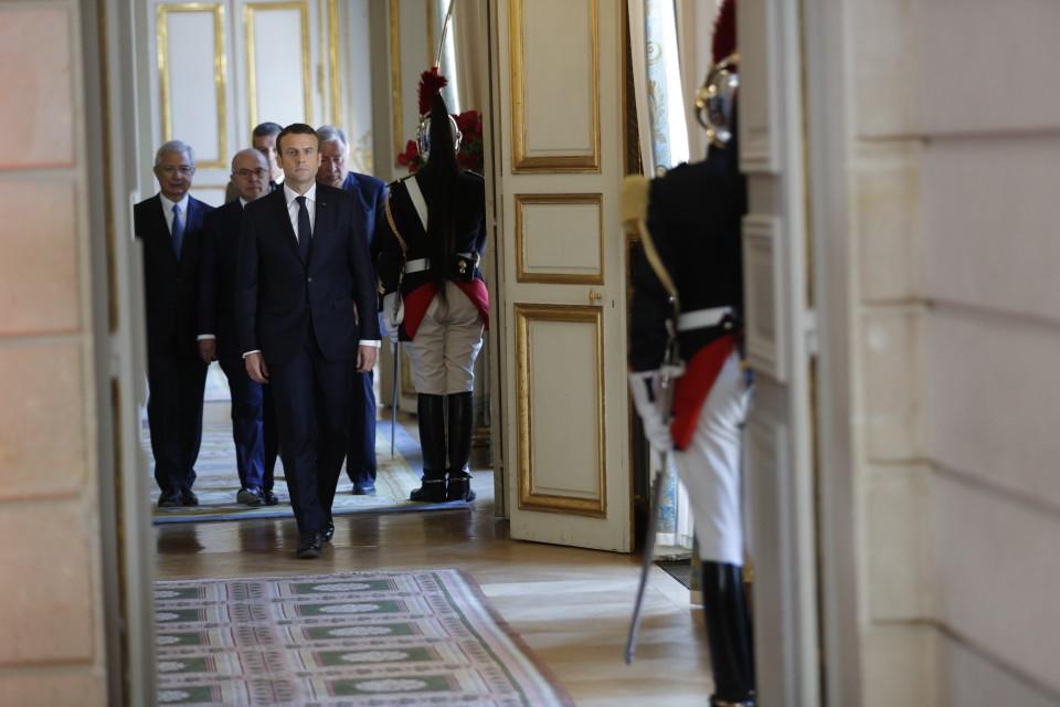 Macron Elysee-palatsissa.