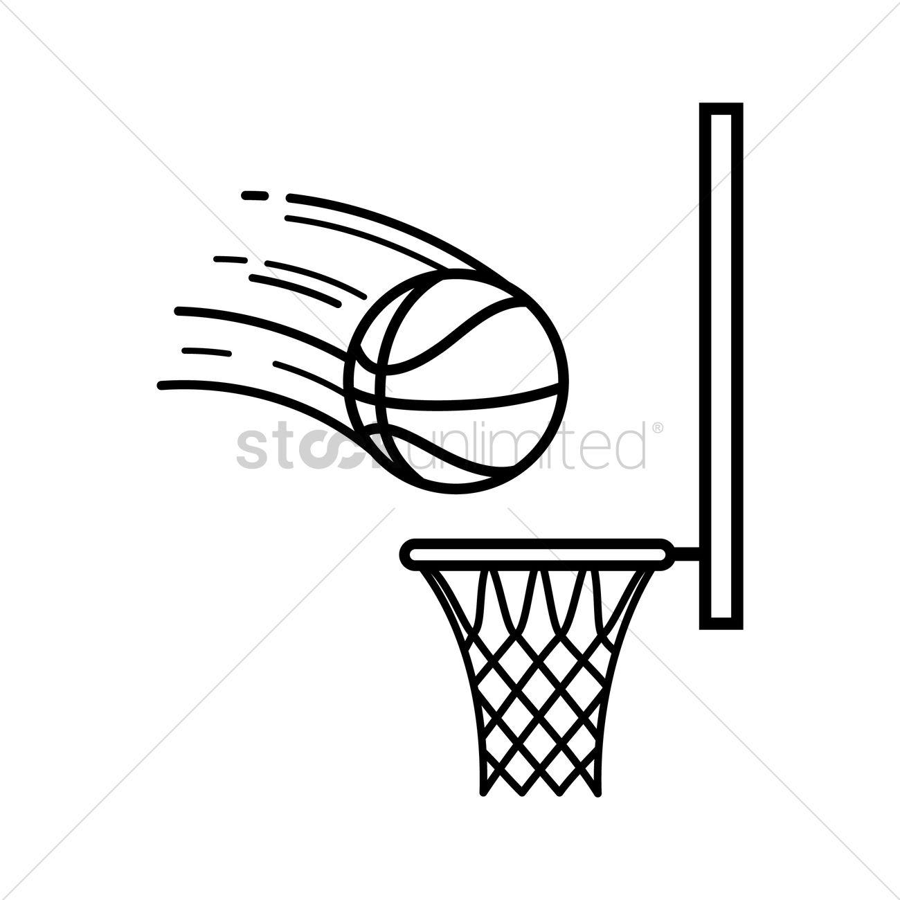 Basketball Going Into Hoop Vector Image