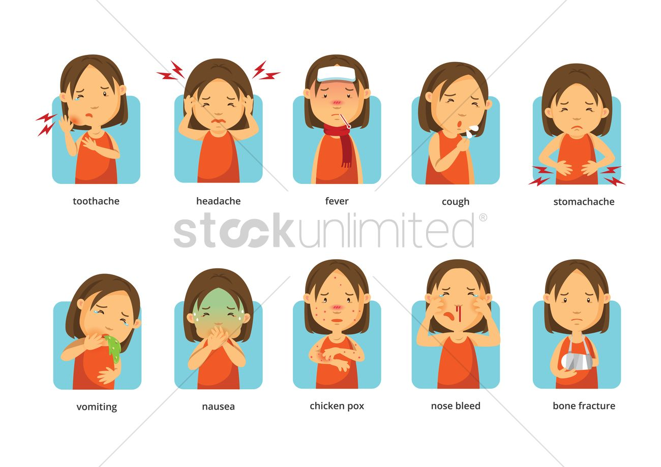 Collection Of Sicknesses Vector Image