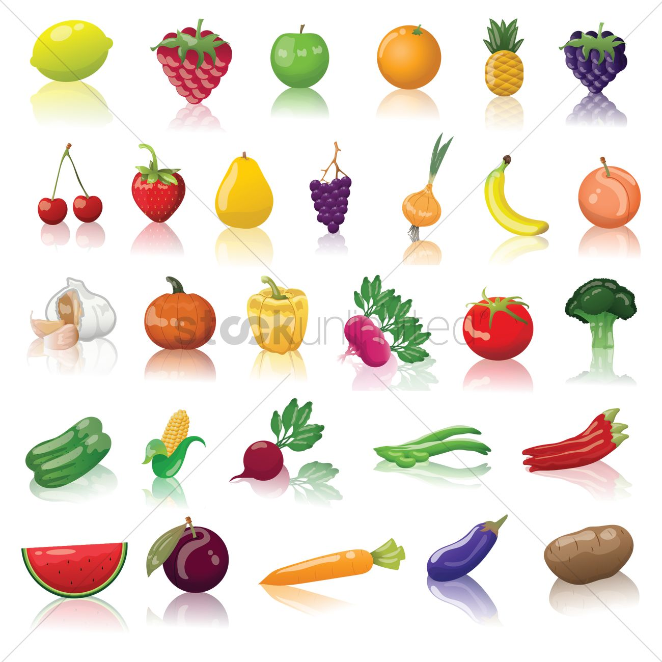 Fruits And Vegetable Collection Vector Image
