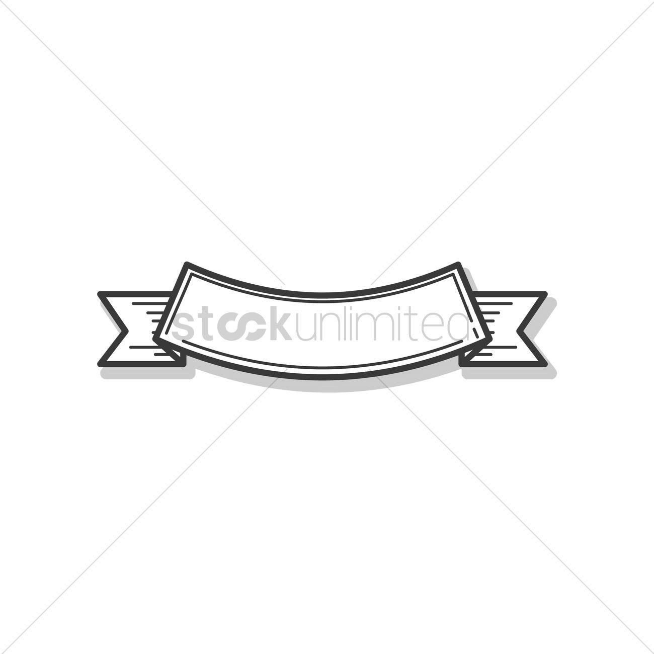 Ribbon Banner Outline Design Vector Image