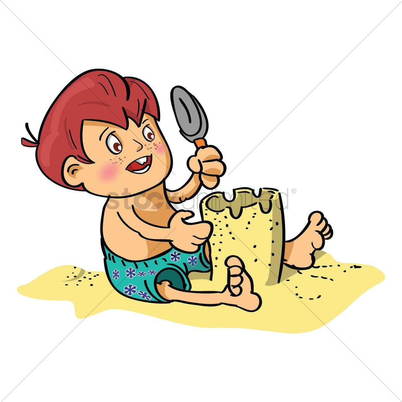 Boy Making Sand Castle Vector Image