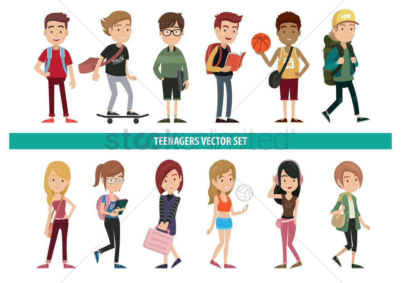 Collection Of Teenagers With Various Activities Vector