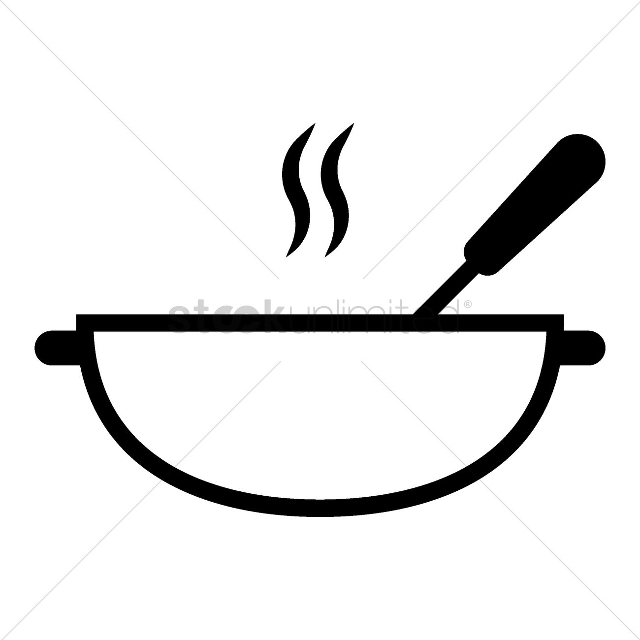 Cooking Pot And Spoon Vector Image