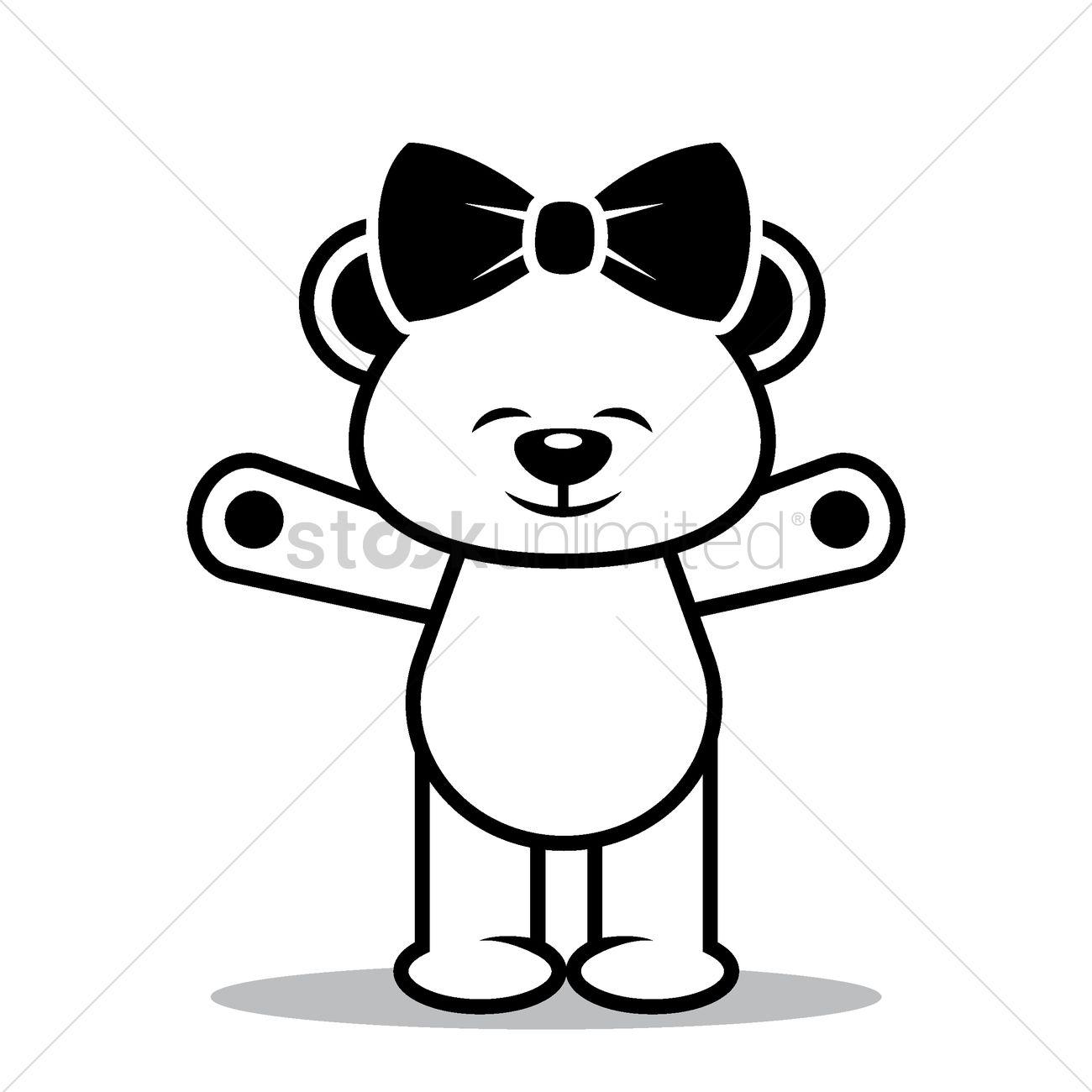 Hands Raised Teddy Bear Vector Image