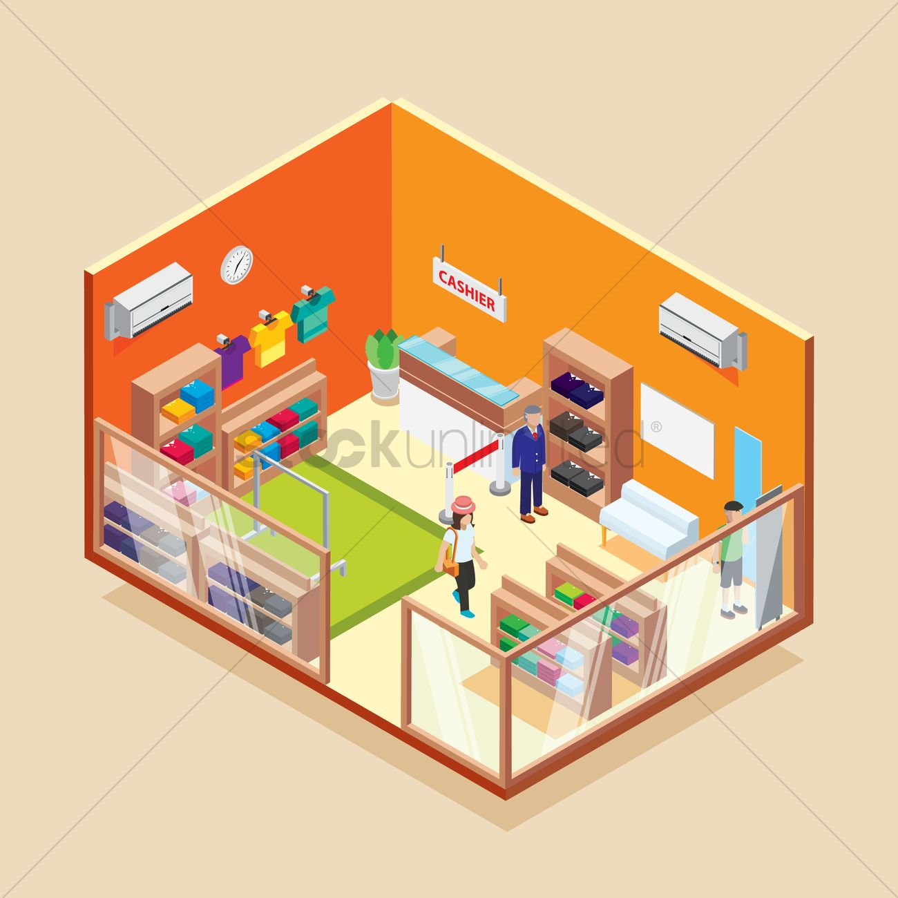 Isometric Garments Store Vector Image