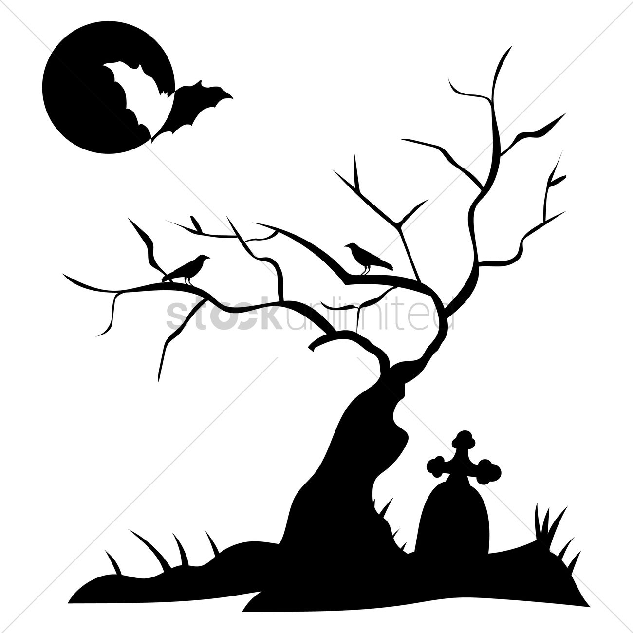 Silhouette Of Grave With Bare Tree Vector Image