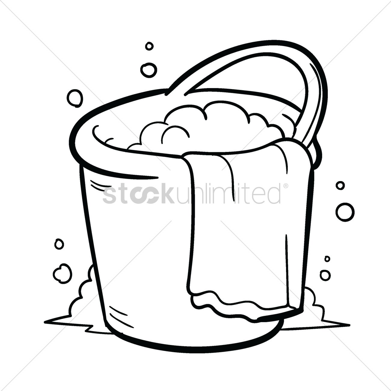 Bucket Of Water With Towel Vector Image